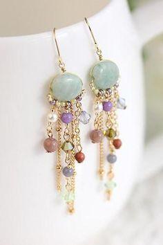 Jewelry Earrings beaded dangle earrings Ideas, Craft Ideas on beaded dangle earrings - Diy Earrings, Earrings Handmade, Handmade Jewelry, Hoop Earrings, Chandelier Earrings, Beaded Chandelier, Simple Bead Earrings, Flower Earrings, Gemstone Earrings