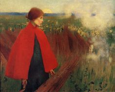 The passing train, c.1890 by Marianne Stokes (1855-1927)