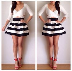 Loose striped skirt black and white. White crop top, red heels outfit