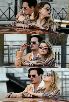 Johnny Depp and Amber Heard on We Heart It Amber Heard Hair, Amber Heard Style, Johnny Depp And Amber, Young Johnny Depp, Rupaul, Amber Head, Little Bit, Black And White Portraits, Hollywood Celebrities