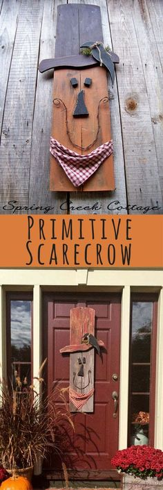 Primitive Scarecrow, Halloween Decor, Fall Decor, Hand-painted scarecrow, Rustic decor, Autumn, Porch Decor, Home Decor, Thanksgiving Decor, Garden Decor, Front door art #ad #affiliatelink