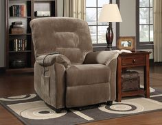 Casual Brown Upholstery Motion Fabric Power Lift Recliner