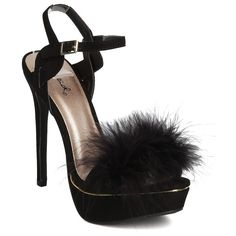Women GB77 Faux Suede Open Toe Feather Platform Ankle Strap Stiletto... ($36) ❤ liked on Polyvore featuring shoes, sandals, wide width sandals, open toe sandals, heeled sandals, ankle strap heel sandals and red platform sandals