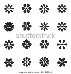 cute set of flat icon flower. design for stickers, labels, tags, gift wrapping paper. Doodle Patterns, Henna Patterns, Flower Crafts, Flower Art, Daisy Image, Jaali Design, Mickey Mouse Images, Decorative Gourds, Cute Photography