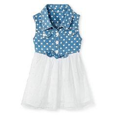 Young Hearts Toddler Girls' Eyelet Chiffon Skirt - Blue, Toddler Girl's