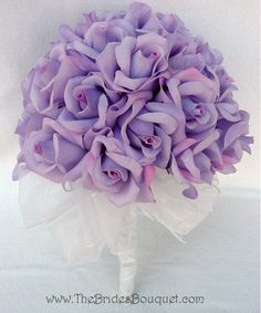 Lavender Silk Rose Handtie (3 Dozen Roses) - Wedding Bouquet