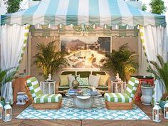 Lindsay Coral Harper's outdoor cabana - striped cabana - aqua stripe - Dorothy Draper style - Slim Aarons photo - striped outdoor chaises - new york city - manhattan patio - www.pencilshavingsstudio.com