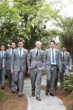 Groomsmen Photos - grey suits teal ties brown shoes - Charleston Crafted