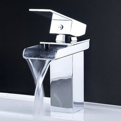 Contemporary Waterfall Bathroom Faucet In Chrome Finish 0119 modern bathroom faucets