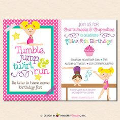 Gymnastics birthday party invitations printable or digital file by girls gymnastics birthday party invitation by inkberrycards filmwisefo