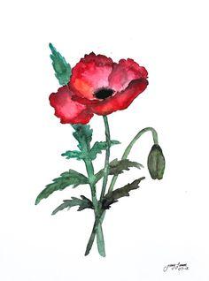 original watercolor poppies 11x15 por LimonArtStudio en Etsy