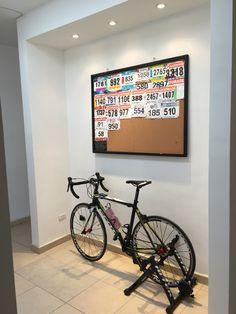 Races, living room, bikes, runners, triathlete.