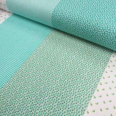 Tricoline Mista - Barras Patchwork Verde (50 cm x 1,50 m)
