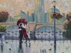 Двое, дождь, город, пейзаж