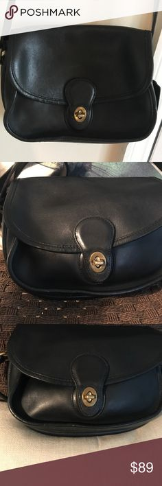 Truly a vintage coach bag Vintage item-Prairie Bag Materials: Supple black glove tanned leather, Solid brass hardware, Brass turnlock, Brass buckles, 48 inch adjustable strap, Full length gusseted front pocket under flap, Rear exterior full length slip pocket, Interior zipper pocket, 9 half L x 7 half tall x 3 inches wide, 23 and half inch strap drop, Coach style number 9954, Smart phone pouch Coach Bags Shoulder Bags
