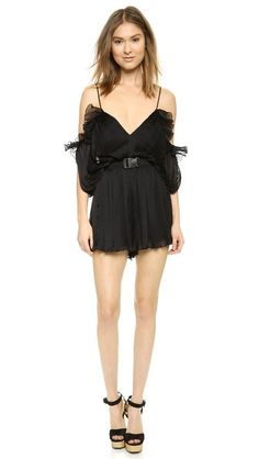edaa822d1e6 Allover pleating lends a textured look to this Alice McCall romper. A  ruffle trims the dropped sleeves
