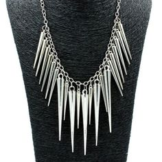 Silver Spike Necklace Cute silver colored spike necklace. New in package. Jewelry Necklaces
