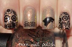 Game of Thrones Nail art featuring picture polish nougat and Colors by Llarowe Mine is Nine ~ More Nail Polish