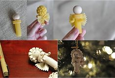 diy christmas tree ornaments pasta angels Christmas crafts for kids