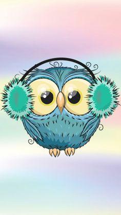 Cute Cartoon Girl, Owl Cartoon, Cartoon Drawings, Art Drawings, Christmas Drawing, Christmas Paintings, Christmas Art, Owl Wallpaper, Animal Wallpaper