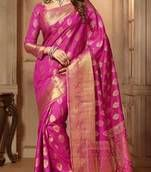 Beautiful Collection of Banarasi Silk Sarees Online at Mirraw, we offer exciting discounts on banarasi sarees having Polka dots and zigzag stripes with a fabulous pallu including free shipping in india.
