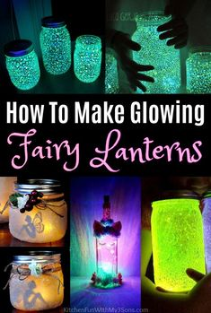 How To Make Fairy Lanterns using Mason Jars These Fairy Lantern Jars are a fun DIY craft idea for the kids to make. Super easy tutorials and these make wonderful night lights using mason jars. Mason Jar Fairy Lights, Mason Jar Lanterns, Fairy Jars, Mason Jar Lighting, Jar Lights, Bottle Lights, Mason Jar Diy, Summer Crafts For Kids, Christmas Gifts For Kids