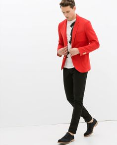 Men's Outfit. Red Blazer, Navy pants and brown moccasins | L&C ...