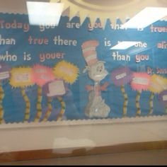 Dr. Seuss bulletin board. The kids wrote rhyming poems to go in the trees.