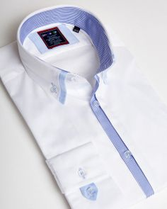 White double collar shirt for men