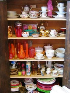 crockery in a 'girl cabinet', its a beautiful cabinet from france