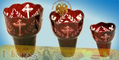 Romanian Orthodox Hand Carved Glass Cups Red Handmade Candle Holders, Byzantine Art, Religious Icons, Art Store, Incense, Red Wine, Hand Carved, Wine Glass, Alcoholic Drinks