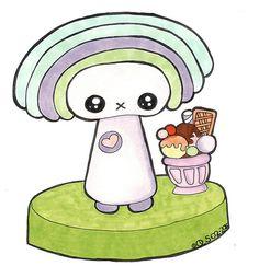 Little Kawaii Character Rainbow Hed | by Qski McGrewski