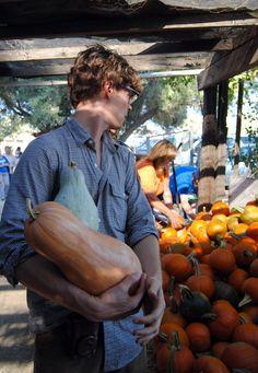 Matthew Gray Gubler picking pumpkins for Halloween