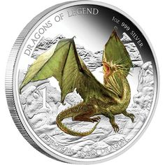 Dragons of Legend: European Green Dragon – Tuvalu – 2013 – 1 Dollar – coloured silver coin Bullion Coins, Silver Bullion, Coin Store, Year Of The Snake, Dragon Pictures, Coins For Sale, Green Dragon, Proof Coins, Silver Dragon