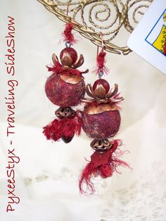 """Queen of Hearts"" lotus blossom crown dangle earrings - Ruby Jade, copper bead caps, red wool felt pompom, sari silk, lampwork glass headpins #PyxeeStyx  #TravelingSideShow #SRAJD"