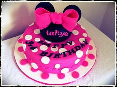 Minnie Mouse cake I made for a very happy three year old - she loved it!