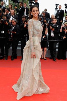 Izabel Goulart in Zuhair Murad to the 'Amant Double' Premiere during 2017 Cannes Film Festival