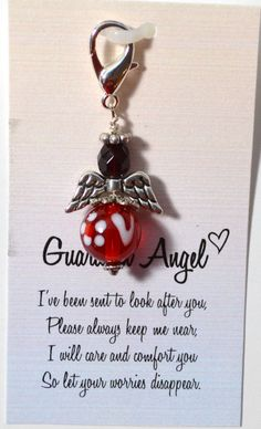 Red Guardian Angel Key Chain Charm by mycreativeclutter on Etsy, $8.00