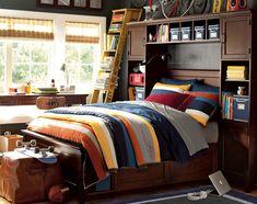 The ladder as display shelves Teenage Guys Bedroom Ideas | Bright Bedding | PBteen