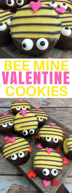 Adorable Bumble BEE Mine Valentines Day Cookies. The perfect class party treat idea! #ValentinesDay #ValentinesDayRecipes #ValentinesDayDesserts #ValentinesCookies #ValentinesForKids
