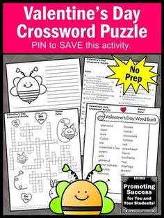 Valentines Day Crossword Puzzle No Prep Vocabulary Activity Literacy Centers