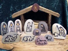 A sand engraved, unique, natural stone Nativity Set to begin or add to your collection. Celebrate every Christmas, Joyously with this Holy Family ensemble. This listing is for a natural stone, engraved NATIVITY SET. It includes 11 glacier stones: -----Baby Jesus -----Joseph -----Mary -----3 Wise men w/ Camel -----Shepherd with Lamb -----Donkey -----Camel -----Cow -----Lamb -----Star -----Manger or Creche (Hand made from recycled wood fence boards) These river stones hale fro...