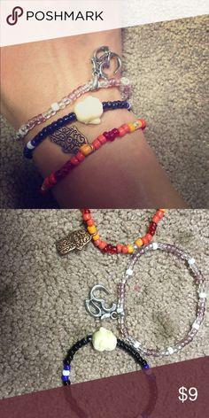 3 pack beaded spiritual bracelets 3 unique bracelets with unique emblems including: happy Buddha, Hamsa, and Ohm symbols Jewelry Bracelets