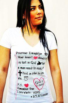 PRECIOUS DAUGHTER V-NECK -Christian T-Shirt by JCLU Forever Christian t-shirts $17.99