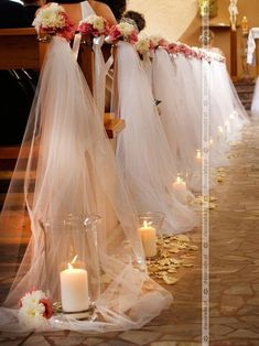 Delicate tulle by candlelight - a romantic decoration of .- Zarter Tüll im Kerzenschein – eine romantische Dekoration der Kirche in Zielona … – Diy Hochzeit ideen Delicate tulle by candlelight – a romantic decoration of the church in Zielona … - Wedding Pews, Wedding Scene, Wedding Chairs, Dream Wedding, Wedding Day, Wedding Church, Wedding Reception, Church Weddings, Autumn Wedding