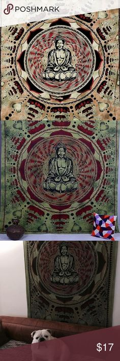 Buddha Cotton Tapestry.  Selling this tapestry to make your home nice and zen. I've used it in my living room and then in my meditation room. I've had it since last spring. Good condition and yes that's my dog Bane . Feel free to ask me questions!  Made in India. Other