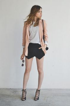 black envelope skirt with light pink blazer.  love the look.