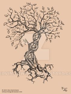 ✿ Tattoos ✿ Celtic ✿ Norse ✿ Tattoo DNA Tree with leaves by Elvina-Ewing