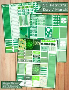 March / St. Patricks Day Happy Planner Stickers Kit