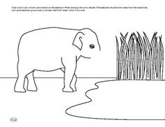 Complete the drawing of the elephant. Decide if the elephant will be drinking, eating, or washing itself. Color the page! Science Worksheets, Teacher Newsletter, Drinking, Elephant, Drawings, Creative, Plants, Animals, Color